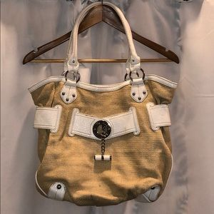 Nine West Straw Bag w/ patent leather accents